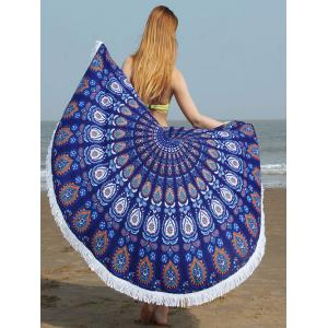 Fringed Edge Tribe Waterdrop Beach Towel - Cerulean - 2xl