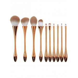 10Pcs Plating Waisted Teardrop Design Makeup Brushes Kit