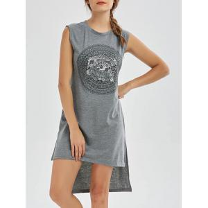 High Low Midi Graphic Tank Dress