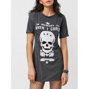 Cuffed Sleeve Skull Graphic Mini Dress - Deep Gray - Xl