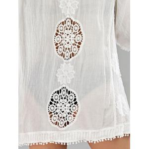 Fringed Openwork Summer Beach Kimono Cover Up - WHITE ONE SIZE