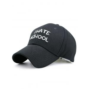 I Hate School Embroidery Baseball Hat - Black