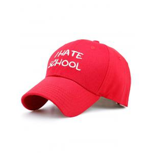 I Hate School Embroidery Baseball Hat - Red