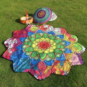 Ethnic Floral Printing Flower Design Beach Throw - Blue+yellow+red