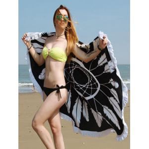 Dreamcatcher Print Fringe Round Beach Towel
