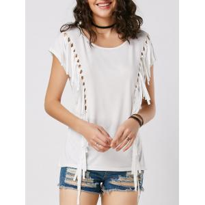 Mesh Cut Out Fringe Tunic T Shirt - White - Xl