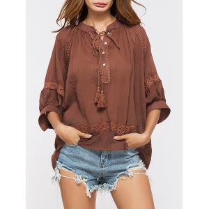 Lace Insert Tassels Sheer Oversized Top - Deep Red - One Size