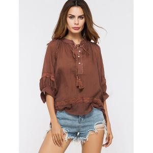 Lace Insert Tassels Sheer Oversized Top - DEEP RED ONE SIZE