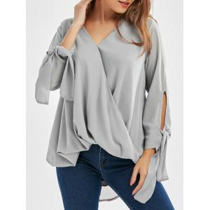Chiffon Long Sleeve Wrap Top