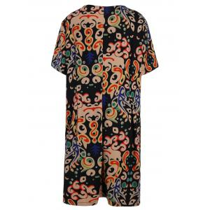 Plus Size Funny Printed Knee Length T-shirt Dress - MULTICOLOR 3XL