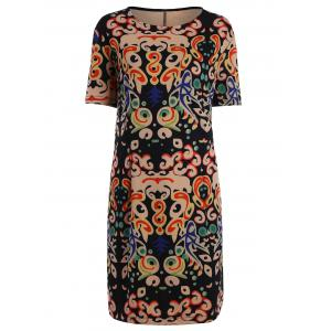 Plus Size Funny Printed Knee Length T-shirt Dress - Multicolor - 4xl