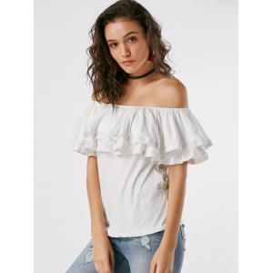 Ruffle Layered Off Shoulder Blouse - WHITE S