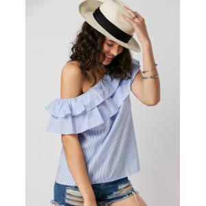 Layer Flounce Striped Skew Collar Blouse - BLUE STRIPE L