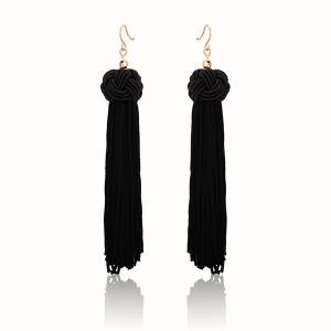 Knot Tassel Vintage Hook Earrings - Black
