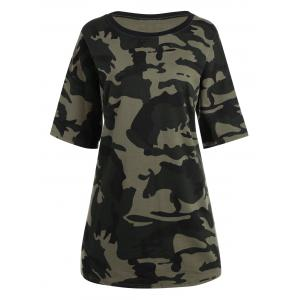 Plus Size Round Neck Camouflage Print T-shirt