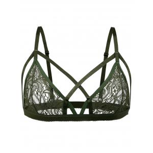 Criss Cross Front Lace Bralette - GREEN M