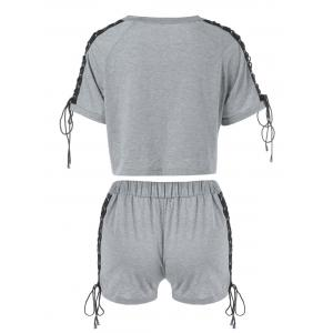 Raglan Sleeve Lace Up Top et Shorts - Gris L