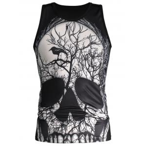 3D Deadwood and Skull Print Tank Top -