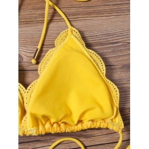 Scalloped Lace Halter String Bikini Set - YELLOW XL