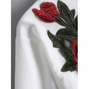 Ribbed Cropped Floral Embroidered Top - WHITE S
