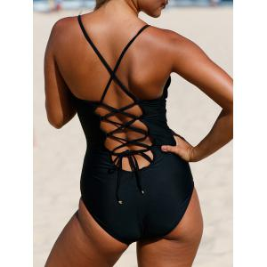 Plunging Cross Back Lace-Up Swimsuit - BLACK XL