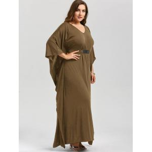 Plus Size Kaftan Maxi Dress - KHAKI 4XL