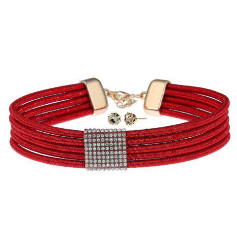 Rhinestone Choker Necklace with Earring Set - Red