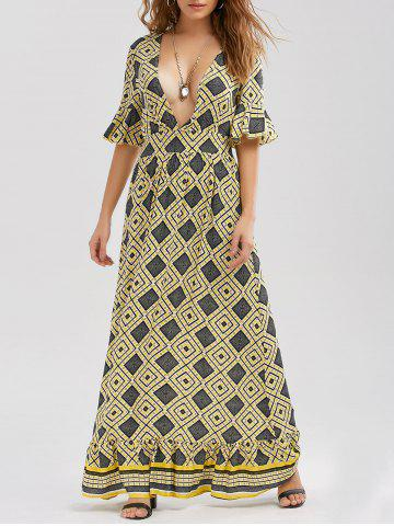 Chic Low Cut Printed Floor Length Dress YELLOW XL