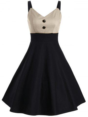 Buy Buttons Two Tone Vintage Slip Dress