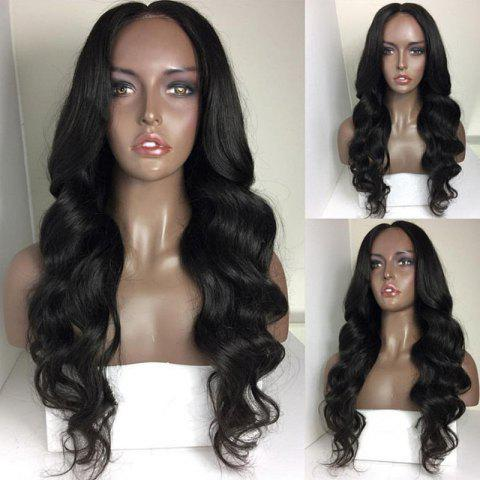 New Long Body Wave Middle Part Synthetic Wig - NATURAL BLACK  Mobile