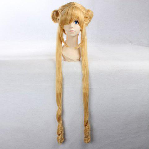 Cheap Anime Straight Side Bang Long Bunches Costume Sailor Moon Cosplay Wig YELLOW 30INCH