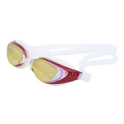 Outfits Sport Anti Fog Waterproof UV Protection Plain Mirrored Swimming Goggles - RED  Mobile
