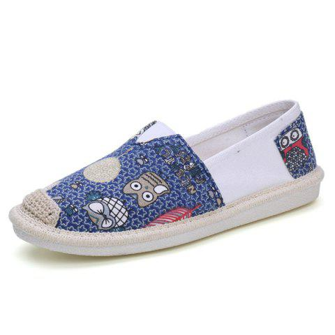 Affordable Cartoon Espadrille Slip On Canvas Shoes - 39 ORCHID Mobile