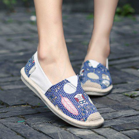 Cheap Cartoon Espadrille Slip On Canvas Shoes - 39 ORCHID Mobile