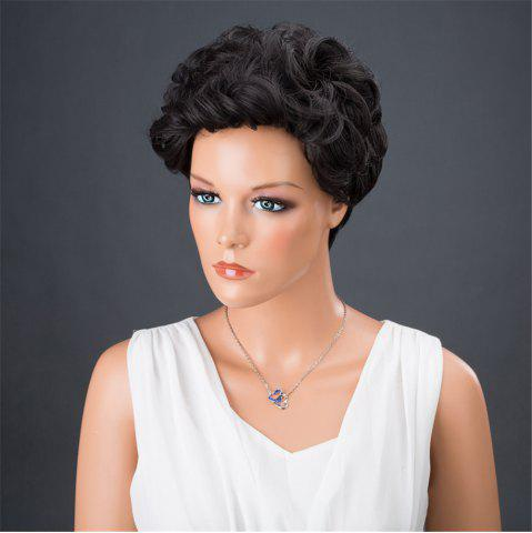 Latest Dyed Perm Layered Shaggy Short Curly Synthetic Wig - 8INCH JET BLACK 01# Mobile