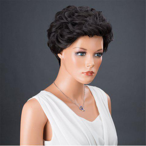 Affordable Dyed Perm Layered Shaggy Short Curly Synthetic Wig - 8INCH JET BLACK 01# Mobile