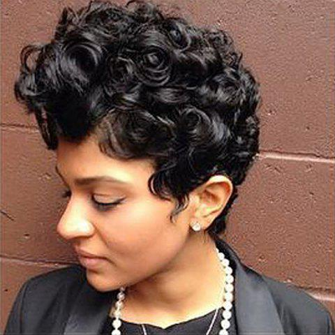 Sale Dyed Perm Layered Shaggy Short Curly Synthetic Wig - 8INCH JET BLACK 01# Mobile