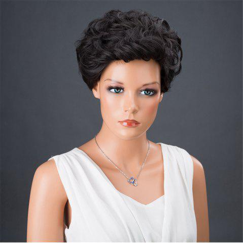 Online Dyed Perm Layered Shaggy Short Curly Synthetic Wig - 8INCH JET BLACK 01# Mobile
