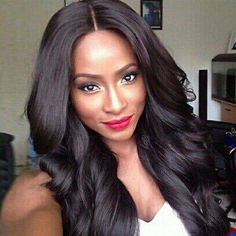 Online Dyed Perm Layered Long Wavy Middle Parting Synthetic Wig - 26INCH JET BLACK 01# Mobile