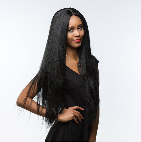 Affordable Dyed Perm Long Shaggy Straight Center Parting Synthetic Wig - 24INCH JET BLACK 01# Mobile