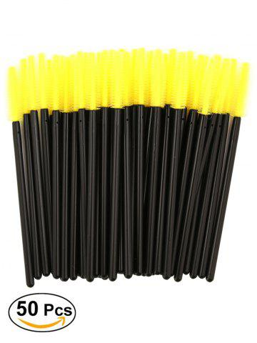 Affordable 50 Pcs/Pack Disposable Silicone Eye Brow Groomer Brushes - YELLOW  Mobile