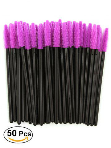 Trendy 50 Pcs/Pack Disposable Silicone Eye Brow Groomer Brushes PURPLE