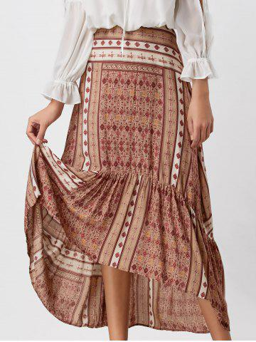 Printed High Waisted High Low Skirt - Colormix - S