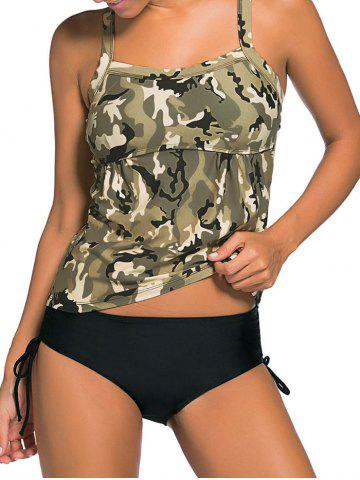 Unique Cross Back Camouflage Tankini Set - 2XL PEARL GREYISH GREEN Mobile