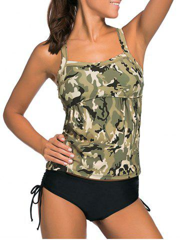 Best Cross Back Camouflage Tankini Set - 2XL PEARL GREYISH GREEN Mobile