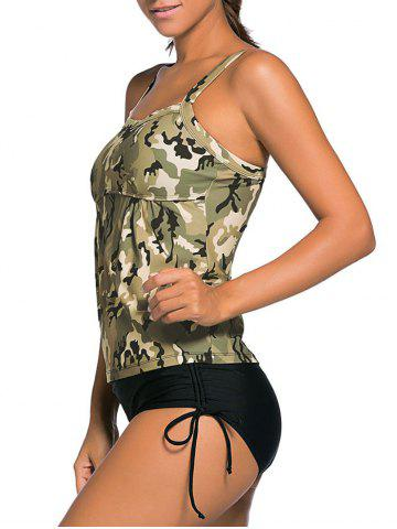 Affordable Cross Back Camouflage Tankini Set - 2XL PEARL GREYISH GREEN Mobile