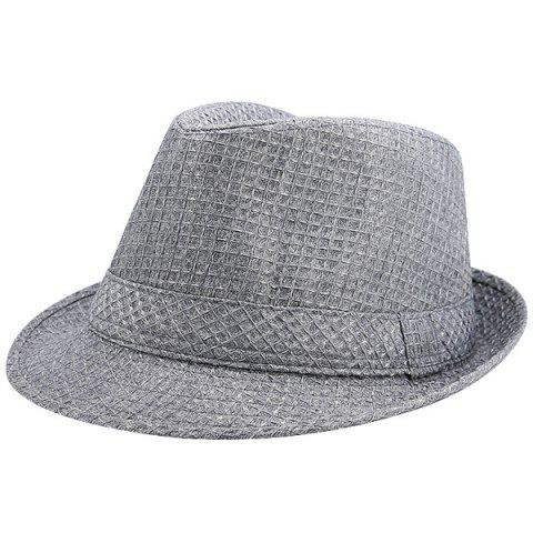 Unique Retro Plaid Ribbon Fedora Hat GRAY