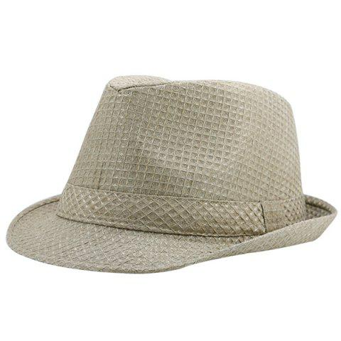 Best Retro Plaid Ribbon Fedora Hat KHAKI