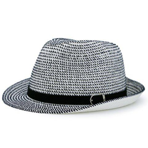 Shop Woven Fedora Hat with Ribbon WHITE