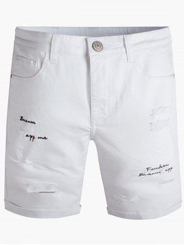Graphic Embroidered Zipper Fly Ripped Jean Shorts - White - 36